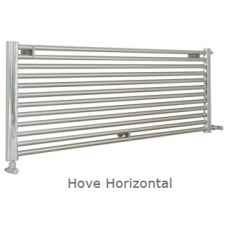 Hove Horizontal stainless steel heated towel rail