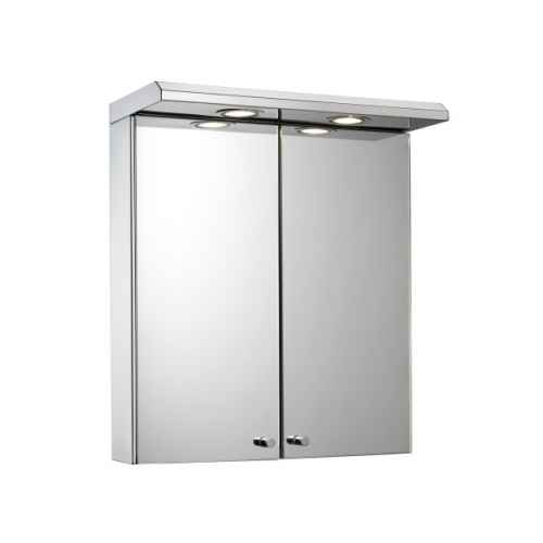 shire double illuminated bathroom cabinet with shaver socket